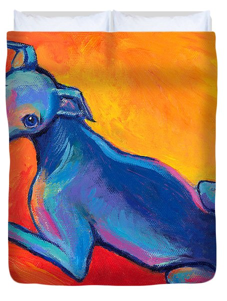 Colorful Greyhound Whippet Dog Painting Duvet Cover