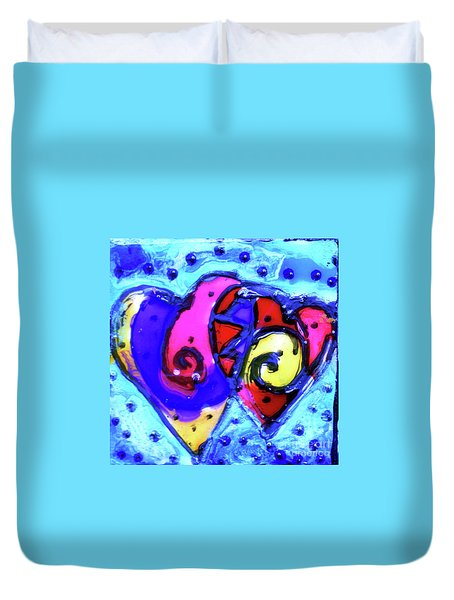 Duvet Cover featuring the painting Colorful Hearts Equals Crazy Hearts by Genevieve Esson