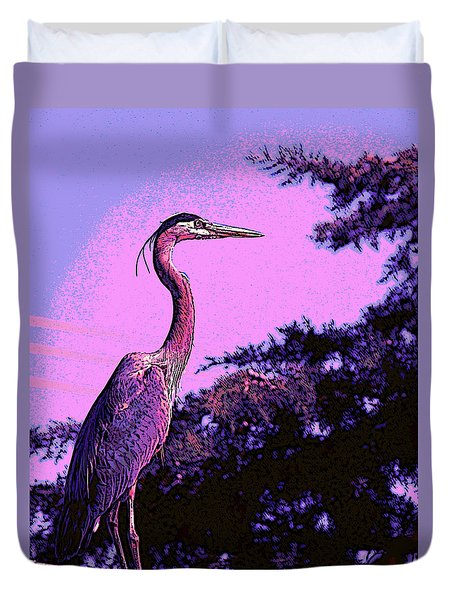 Colorful Heron Duvet Cover