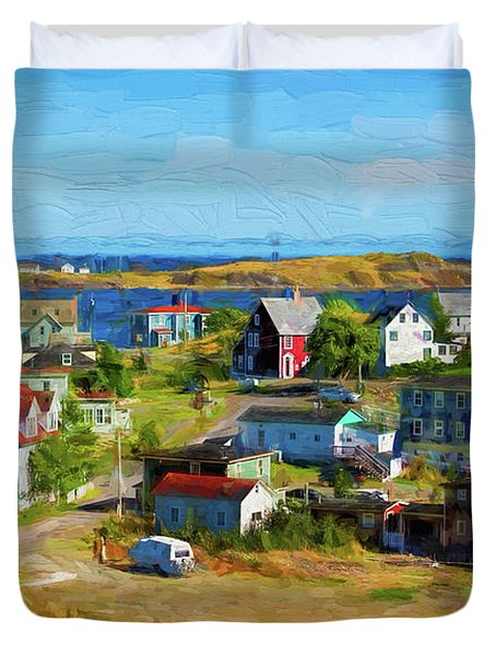 Colorful Homes In Trinity, Newfoundland - Painterly Duvet Cover