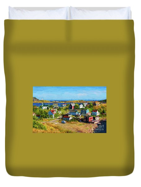 Colorful Homes In Trinity, Newfoundland - Painterly Duvet Cover by Les Palenik