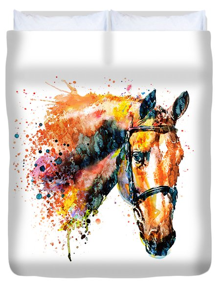 Duvet Cover featuring the mixed media Colorful Horse Head by Marian Voicu