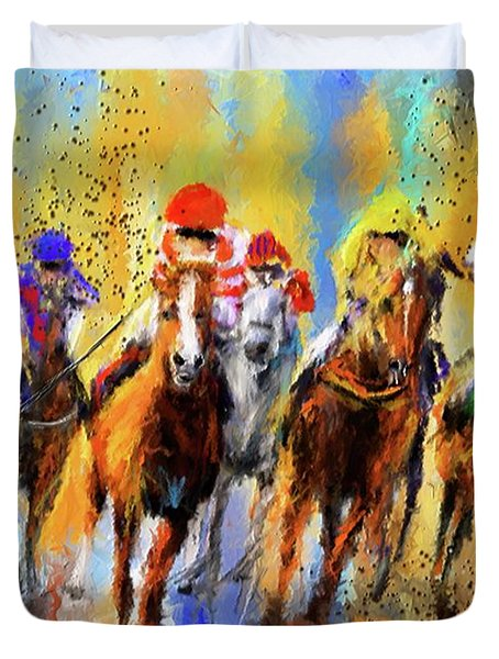 Colorful Horse Racing Impressionist Paintings Duvet Cover