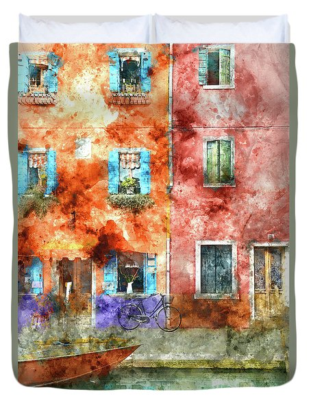 Colorful Houses In Burano Island, Venice Duvet Cover