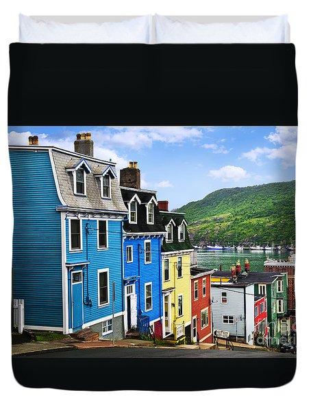 Colorful Houses In St. John's Duvet Cover