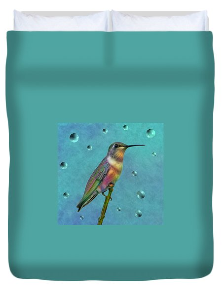 Colorful Hummingbird Duvet Cover