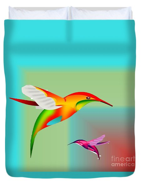 Colorful Hummingbirds Duvet Cover