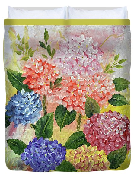 Colorful Hydrangeas Duvet Cover by Jimmie Bartlett