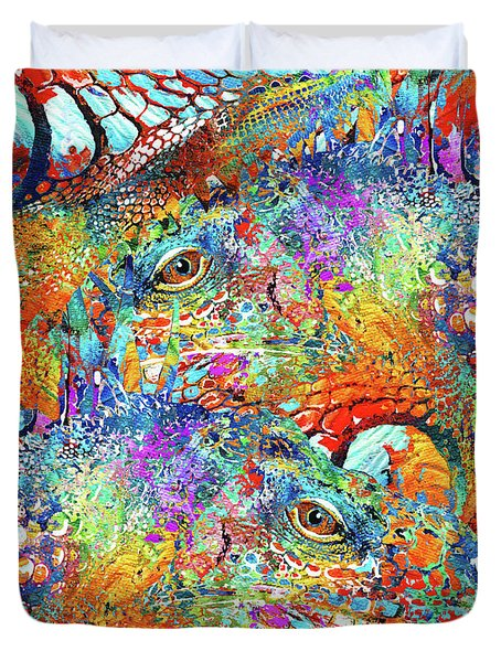 Colorful Iguana Art - Tropical Two - Sharon Cummings Duvet Cover