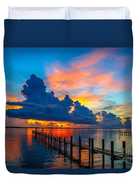 Colorful Indian River Sunrise Duvet Cover
