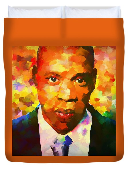 Colorful Jay Z Palette Knife Duvet Cover by Dan Sproul