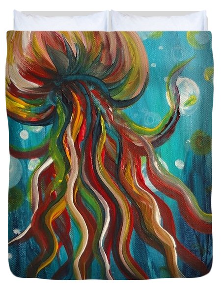 Colorful Jellyfish Duvet Cover