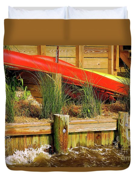 Duvet Cover featuring the photograph Colorful Kayak Duo by Lois Bryan