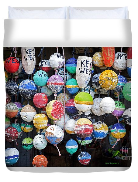 Colorful Key West Lobster Buoys Duvet Cover
