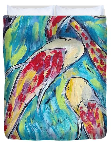 Colorful Koi Fish #2 Duvet Cover
