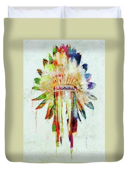 Colorful Lakota Sioux Headdress Duvet Cover