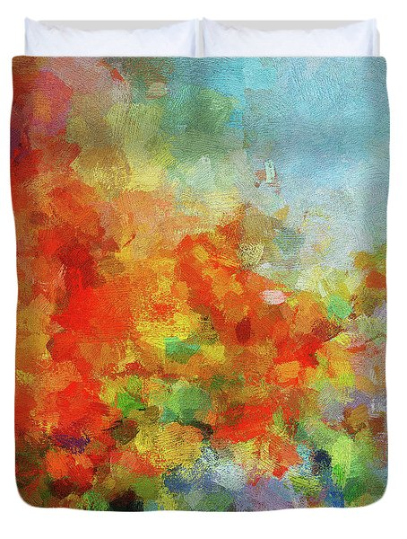 Duvet Cover featuring the painting Colorful Landscape Art In Abstract Style by Ayse Deniz