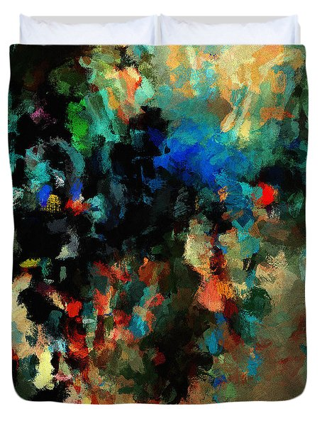 Duvet Cover featuring the painting Colorful Landscape / Cityscape Abstract Painting by Ayse Deniz