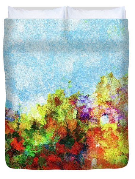 Duvet Cover featuring the painting Colorful Landscape Painting In Abstract Style by Ayse Deniz