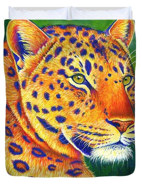 Colorful Leopard Portrait Duvet Cover