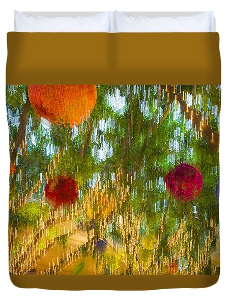 Colorful Lights And Flowers Duvet Cover by Susan Stone