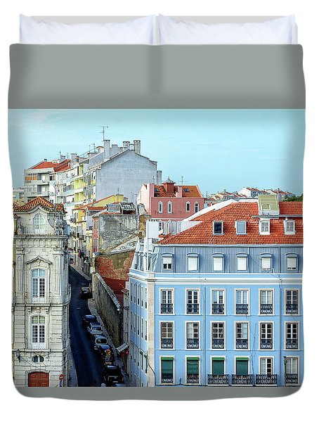 Duvet Cover featuring the photograph Colorful Lisbon by Marion McCristall