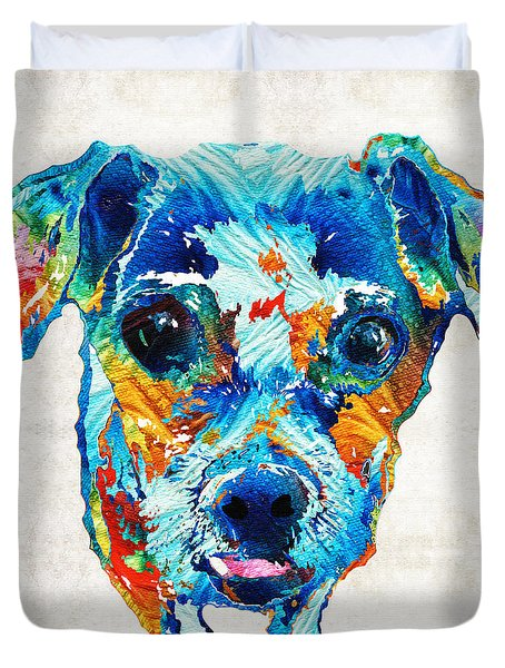 Colorful Little Dog Pop Art By Sharon Cummings Duvet Cover by Sharon Cummings