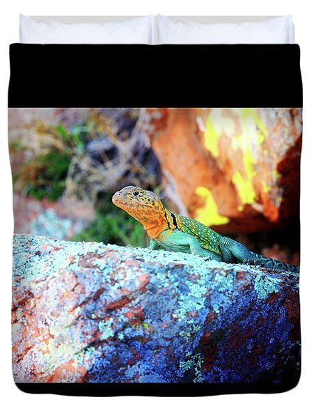 Duvet Cover featuring the photograph Colorful Lizard Aka Mister Art by Toni Hopper