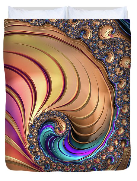 Duvet Cover featuring the digital art Colorful Luxe Fractal Spiral by Matthias Hauser