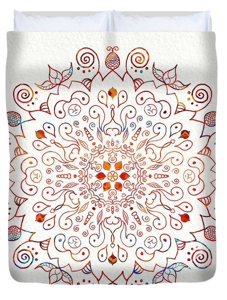 Colorful Mandala On Watercolor Paper Duvet Cover