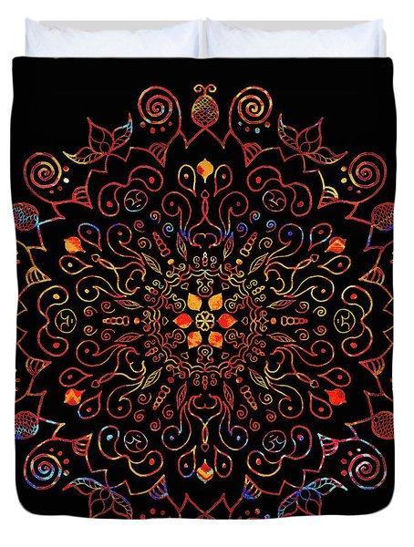 Colorful Mandala With Black Duvet Cover
