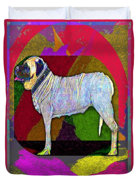 Duvet Cover featuring the drawing Colorful Mastiff by Michelle Audas