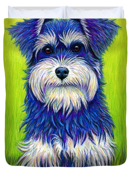 Colorful Miniature Schnauzer Dog Duvet Cover