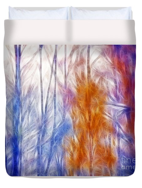 Colorful Misty Forest  Duvet Cover