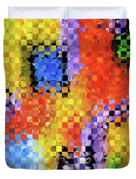 Duvet Cover featuring the painting Colorful Modern Art - Pieces 11 - Sharon Cummings by Sharon Cummings