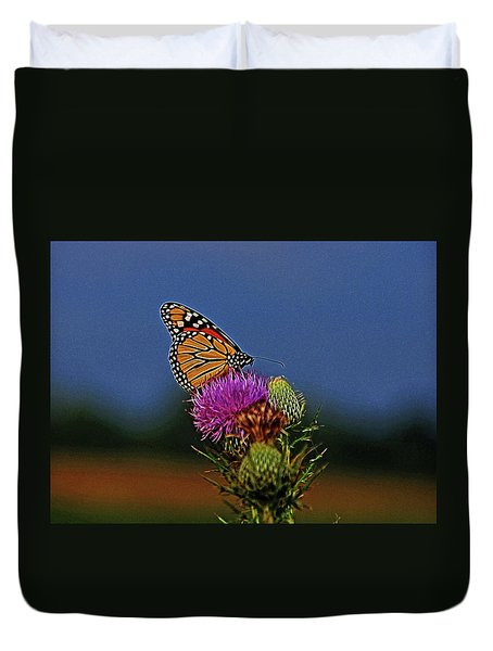 Duvet Cover featuring the photograph Colorful Monarch by Sandy Keeton