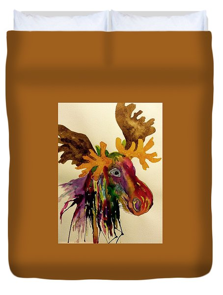 Colorful Moose Head - Jewel Tone Duvet Cover