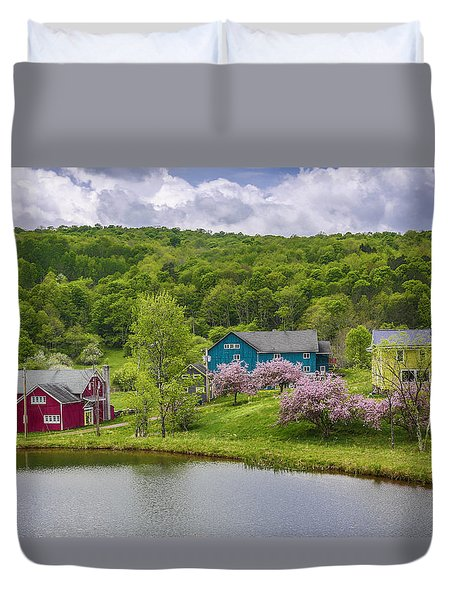 Duvet Cover featuring the photograph Colorful Mountain Homes by Paula Porterfield-Izzo
