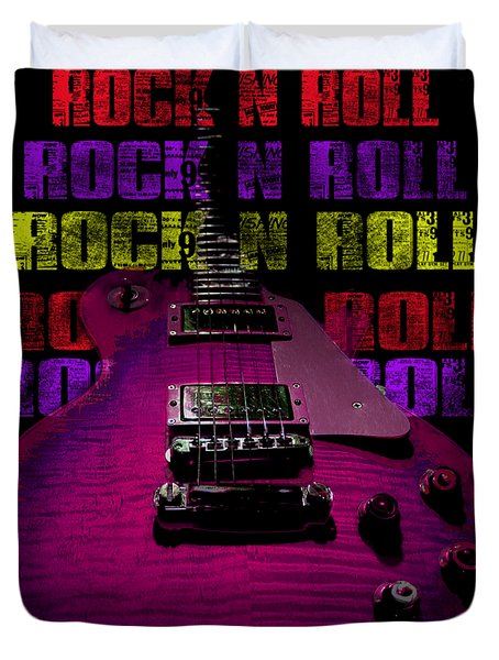 Duvet Cover featuring the photograph Colorful Music Rock N Roll Guitar Retro Distressed T-shirt by Guitar Wacky