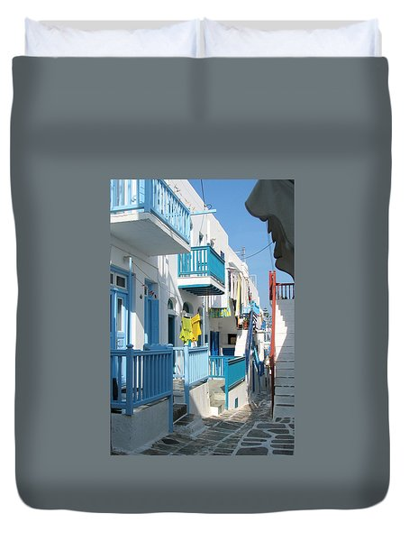 Duvet Cover featuring the photograph Colorful Mykonos by Carla Parris