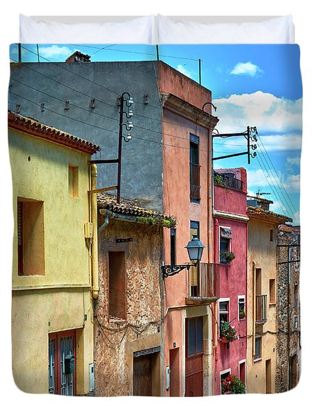 Colorful Old Houses In Tarragona Duvet Cover