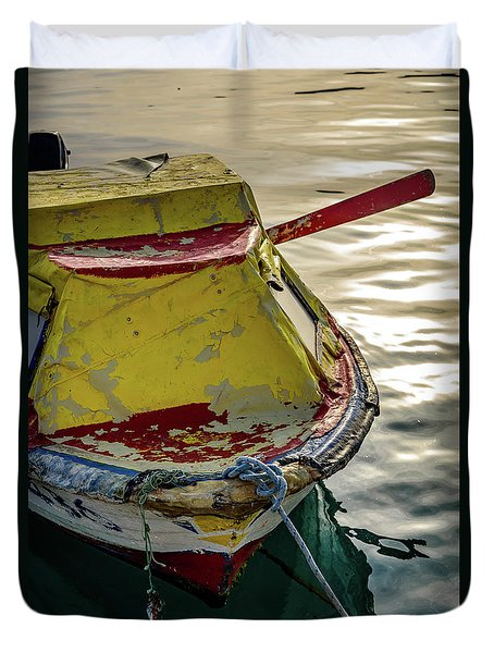 Colorful Old Red And Yellow Boat During Golden Hour In Croatia Duvet Cover