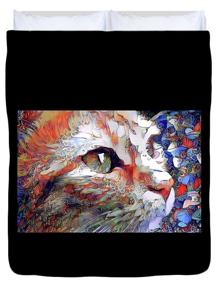 Colorful Orange Cat Art Duvet Cover
