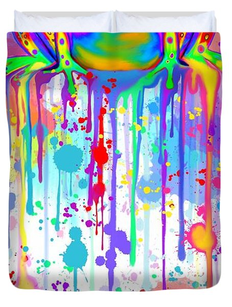 Colorful Painted Frog  Duvet Cover