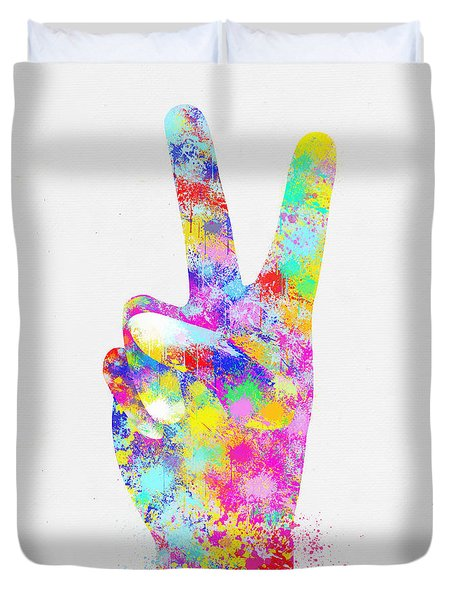 Colorful Painting Of Hand Point Two Finger Duvet Cover by Setsiri Silapasuwanchai