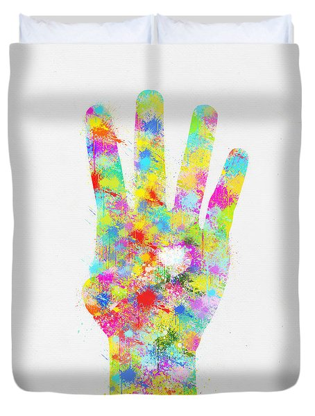Colorful Painting Of Hand Pointing Four Finger Duvet Cover by Setsiri Silapasuwanchai