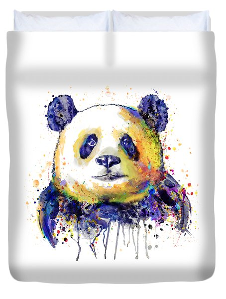 Duvet Cover featuring the mixed media Colorful Panda Head by Marian Voicu