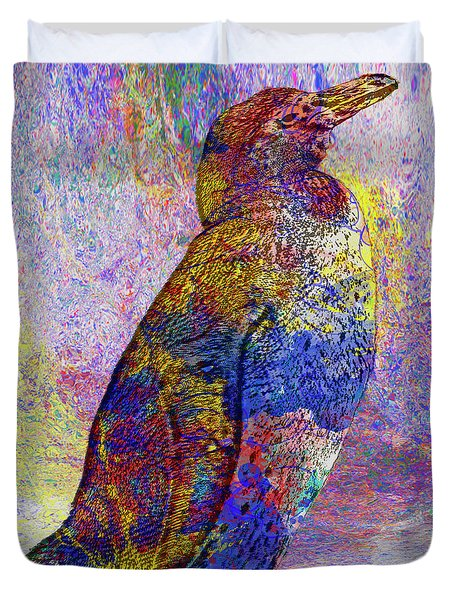 Colorful Penguin Duvet Cover by Jack Zulli