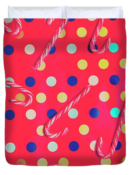 Colorful Pepermint Candy Canes Duvet Cover