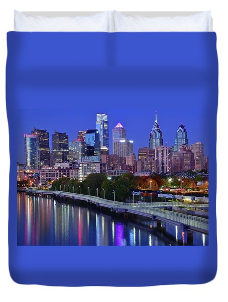 Duvet Cover featuring the photograph Colorful Philly Night Lights by Frozen in Time Fine Art Photography